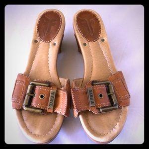 FRYE Isabelle Buckle Leather Sandal Slide SZ 7.5